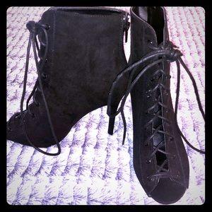 CUTE* Charlotte Russe faux suede tie up heels